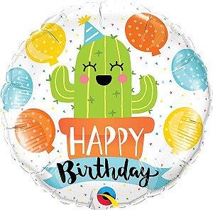 Balão Metalizado Aniversário Cactos - 18'' - Qualatex - Rizzo festas