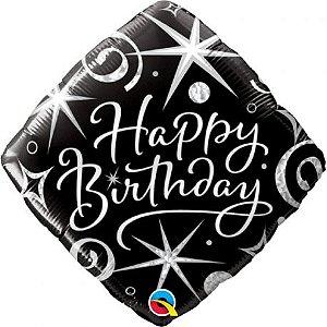Balão Metalizado Faíscas e Espirais Elegantes de Aniversário - 18'' - Qualatex - Rizzo festas