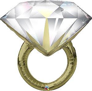 Balão Metalizado Anel de Diamantes - 37'' - Qualatex - Rizzo festas