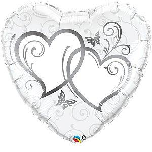 Balão Metalizado Corações Entrelaçados Prata Festa Casamento - 36'' - Qualatex - Rizzo festas
