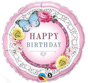 Balão Metalizado Feliz Aniversário Festa Jardim Borboletas - 18'' - Qualatex - Rizzo festas