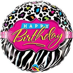 Balão Metalizado Aniversário Listras Leopardo - 18'' - 1 Unidade - Qualatex - Rizzo festas