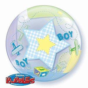 Balão Bubble Transparente Aviões Baby Boy - 22'' 56cm - Qualatex - Rizzo festas