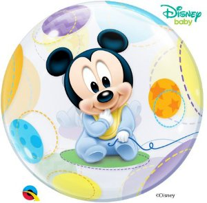 Balão Bubble Transparente Disney Baby Mickey Mouse - 22'' 56cm - Qualatex - Rizzo festas