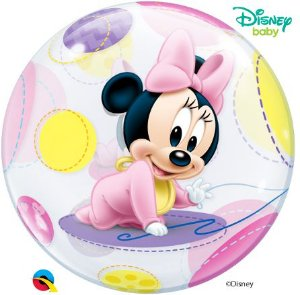 Balão Bubble Transparente Disney Baby Minnie Mouse - 22'' 56cm - Qualatex - Rizzo festas