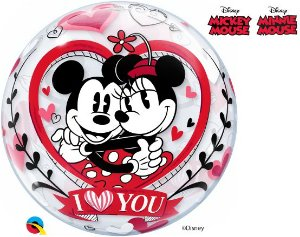 Balão Bubble Transparente Disney Mickey & Minnie I Love You - 22'' 56cm - Qualatex - Rizzo festas