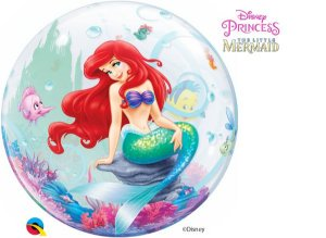 Balão Bubble Transparente Disney Pequena Sereia Festa Sereia - 22'' 56cm - Qualatex - Rizzo festas