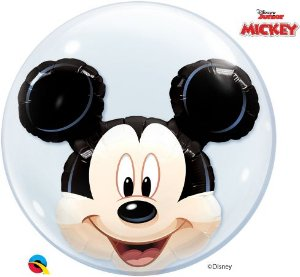Balão Double Bubble Transparente Disney Mickey Mouse - 24'' 61cm - Qualatex - Rizzo festas