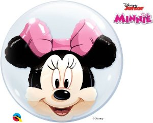 Balão Double Bubble Transparente Disney Minnie Mouse - 24'' 61cm - Qualatex - Rizzo festas
