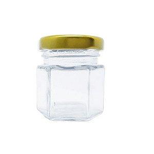 Potinho de Vidro Sextavado Tampa de Metal Ouro 45ml - Rizzo Embalagens