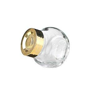 Mini Baleiro de Vidro Tampa de Metal Ouro 40ml - Rizzo Embalagens