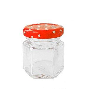 Potinho de Vidro Tampa de Metal Vermelho 45ml - Rizzo Embalagens