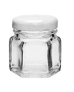Potinho de Vidro Sextavado Tampa de Metal Branco 45ml - Rizzo Embalagens