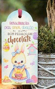 Tag de Páscoa Madeira Coelha - LitoArte - Rizzo Embalagens