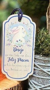 Tag de Páscoa Madeira Mensagem Feliz Páscoa - LitoArte - Rizzo Embalagens