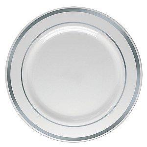 Prato Refeição Borda Prata - 6 un - 26 cm - Silver Festas