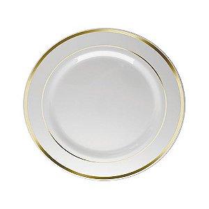 Prato Refeição Borda Dourada 26cm - 06 unidades - Descartáveis de Luxo SilverPlastic - Rizzo Festas