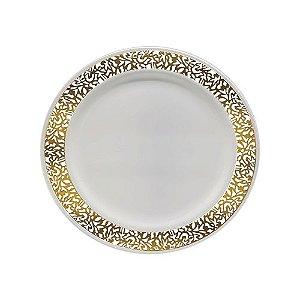 Prato Refeição Vazado Dourado - 6 un - 26 cm - Silver Festas