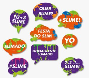 Kit Plaquinhas Divertidas Festa Slime - 9 unidades - Festcolor - Rizzo Festas