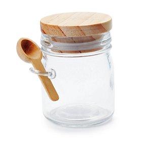 Potinho de Vidro para Bolo P 150ml Tampa Madeira - 1 Unidade - Cromus - Rizzo Embalagens