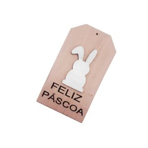 Tag de Páscoa Rosa Madeira Coelho Feliz Páscoa - Rizzo Embalagens