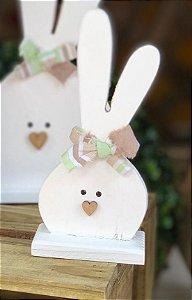 Coelhinho G Branco em Madeira com Laço - 1 Unidade - Rizzo Embalagens