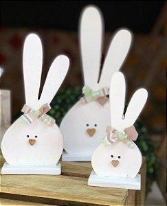 Coelhinhos Trio Branco em Madeira com Laços - 3 Unidades - Rizzo Embalagens