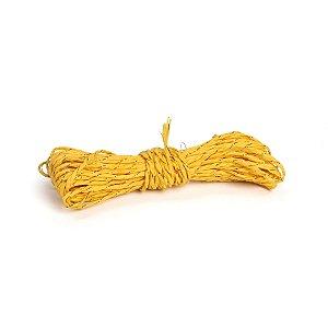 Fio Decorativo de Papel Torcido Amarelo Listrado com Ouro - 5 metros - Cromus Páscoa - Rizzo Embalagens