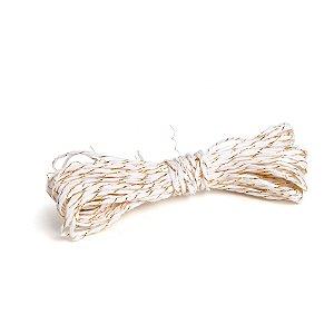 Fio Decorativo de Papel Torcido Branco Listrado com Ouro - 5 metros - Cromus Páscoa - Rizzo Embalagens