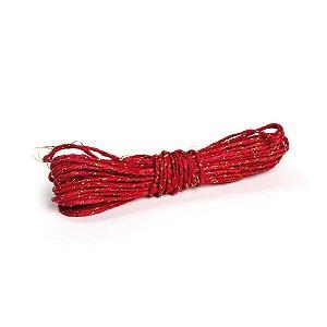 Fio Decorativo de Papel Torcido Vermelho Listrado com Ouro - 5 metros - Cromus Páscoa - Rizzo Embalagens