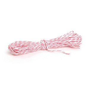 Fio Decorativo de Papel Torcido Rosa Claro Listrado com Branco - 5 metros - Cromus Páscoa - Rizzo Embalagens