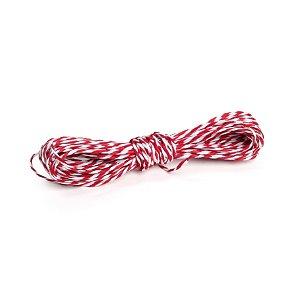 Fio Decorativo de Papel Torcido Vermelho Listrado com Branco - 5 metros - Cromus Páscoa - Rizzo Embalagens