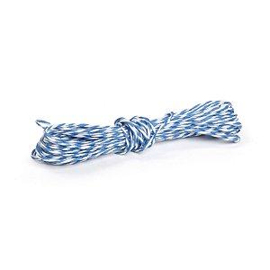 Fio Decorativo de Papel Torcido Azul Listrado com Branco - 5 metros - Cromus Páscoa - Rizzo Embalagens