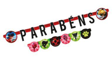 Faixa Parabéns Festa Miraculous - Regina - Rizzo Festas
