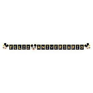 Faixa Feliz Aniversário Festa Mickey - Regina - Rizzo Festas