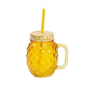 Copo de Vidro Abacaxi 480ml Tampa Xadrez Amarelo- 1 Unidade - Rizzo Embalagens
