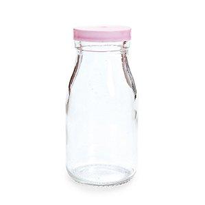 Garrafinha de Vidro 200ml com Tampa Rosa de Plástico - 6 x 6 x 12 - Cromus - Rizzo Embalagens