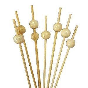 Palito Petiscos Bolinha Neutra de Bambu 12cm - 20 unidades - Silver Festas - Rizzo Festas