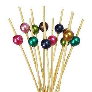 Palito em Bambu p/ petiscos com Bolinhas coloridas - 20 un - 12 cm - Silver Festas