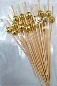 Palito Petiscos Bolinha Dourada Bambu 12cm - 20 unidades - Silver Festas - Rizzo Festas