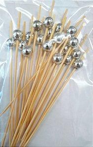 Palito Petiscos Bolinha Prata Bambu 12cm - 20 unidades - Silver Festas - Rizzo Festas