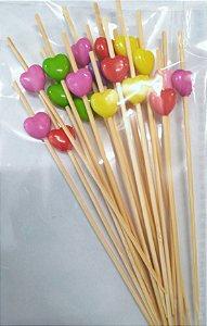 Palito Petiscos Coração Colorido de Bambu 12cm - 20 unidades - Silver Festas - Rizzo Festas