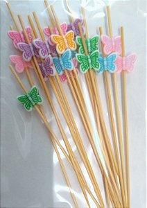 Palito em Bambu p/ petiscos Borboletas coloridas - 20 um - 12 cm - Silver Festas