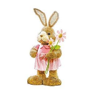 Coelha Rústica Flor - 63cm x 24cm x 20cm - 1 unidade - Linha Bem Casado - Cromus Páscoa Rizzo Embalagens
