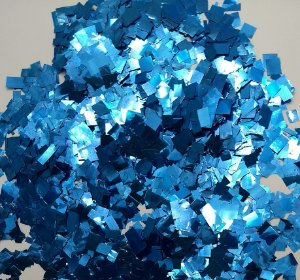Confete Azul Metalizado Quadrado para Balão Royal - 1cm x 1cm - Estilo e Festas Rizzo Festas