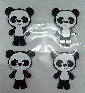 Aplique Festa Panda em Pé 5cm - 4 Unidades - Vivart Rizzo Festas