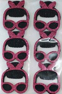 Aplique Doll Máscara Franjinha Eva com Glitter Festa LOL 5cm - 4 Unidades - Vivart Rizzo Festas