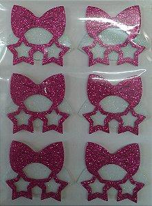 Aplique Doll Máscara Estrela Eva com Glitter Festa LOL 4cm - 6 Unidades - Vivart Rizzo Festas