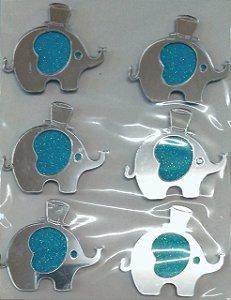 Aplique Elefante Azul com Glitter Festa Safari 4cm - 6 Unidades - Vivart Rizzo Festas