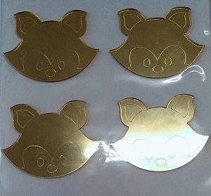 Aplique Raposa Cabeça Ace Dourado 4cm - 4 Unidades - Vivart Rizzo Festas